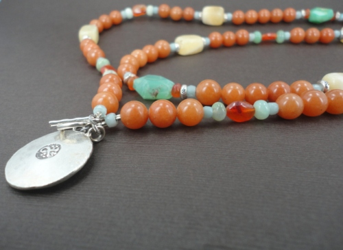 handmade carnelian honey calcite and chrysoprase necklace