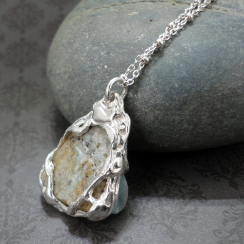 smithsonite druzy pendant set in silver